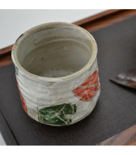 Tazzina tradizionale Giapponese con stampa di foglie Yunomi Chataku