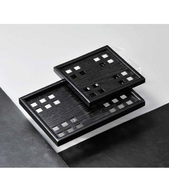 Vassoio in legno quadrato nero Kaku Bon